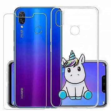 Laixin Funda para Huawei P Smart Transparente Carcasa TPU Silicona Case Cover [Anti-arañazos] Cristal Bumper + Protectore de Pantalla, Unicornio Azul