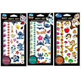 Disney Tattoo Stickers Temporary Body Art 3 Sheets (Stitch Hibiscus/Stitch Leaf/Chip n Dale)