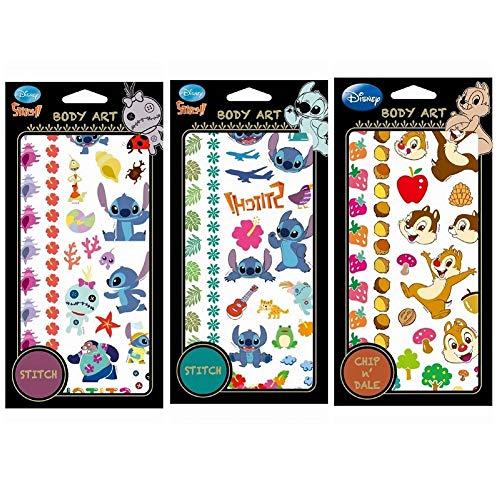 Disney Temporary Tattoo Stickers Body Art 3 Sheets (Stitch Hibiscus/Stitch Leaf/Chip n Dale) -
