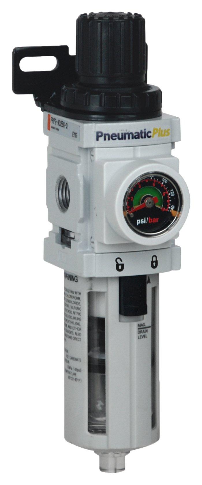 PneumaticPlus PPP2-N02BG Miniature Air Filter Regulator Piggyback Combo 1/4'' NPT - 5 Micron, Poly Bowl, Manual Drain, Embedded Gauge