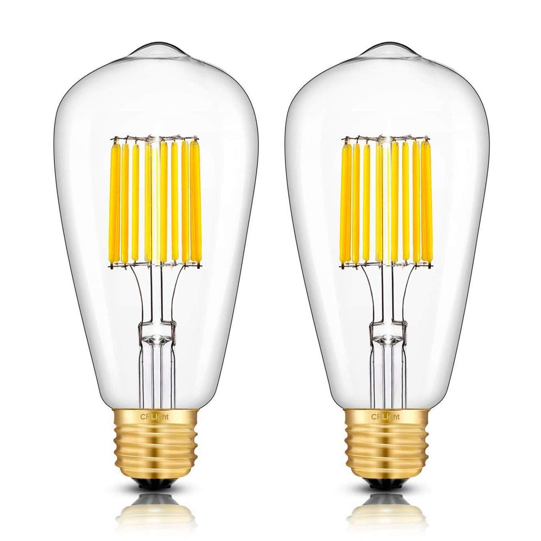 E26 Medium Base Vintage ST64 LED Filament Light Bulbs Pack of 3 CRLight Dimmable 6W 700LM LED Edison Bulb 3200K Soft White 70W Equivalent Clear Glass Cover