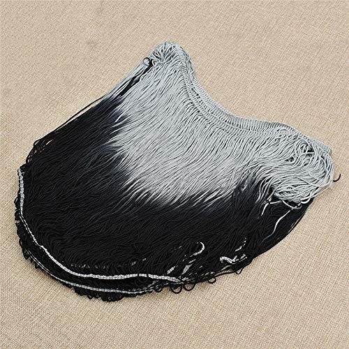 DIY Tassel Fringe Trims Latin for Dress Dance Skirt Embellishments Fashion Craft (Color - Grey Black)