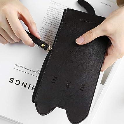 Kawaii - Estuche de piel sintética para lápices, diseño de gato, color negro 20 * 9cm: Amazon.es: Oficina y papelería