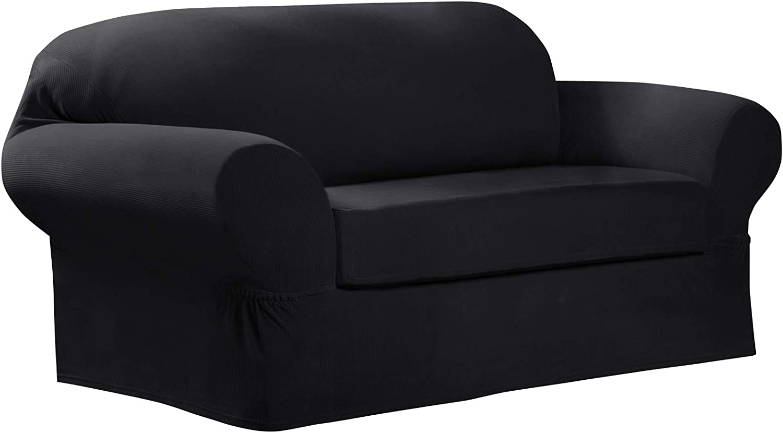 MAYTEX Collin Stretch 2 Piece Loveseat Furniture Cover Slipcover, Black