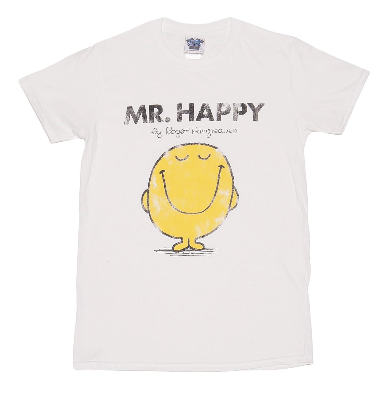cea8cf08ec147 T shirt homme Monsieur Madame Mr Happy Monsieur Heureux blanc  Amazon.fr   Vêtements et accessoires