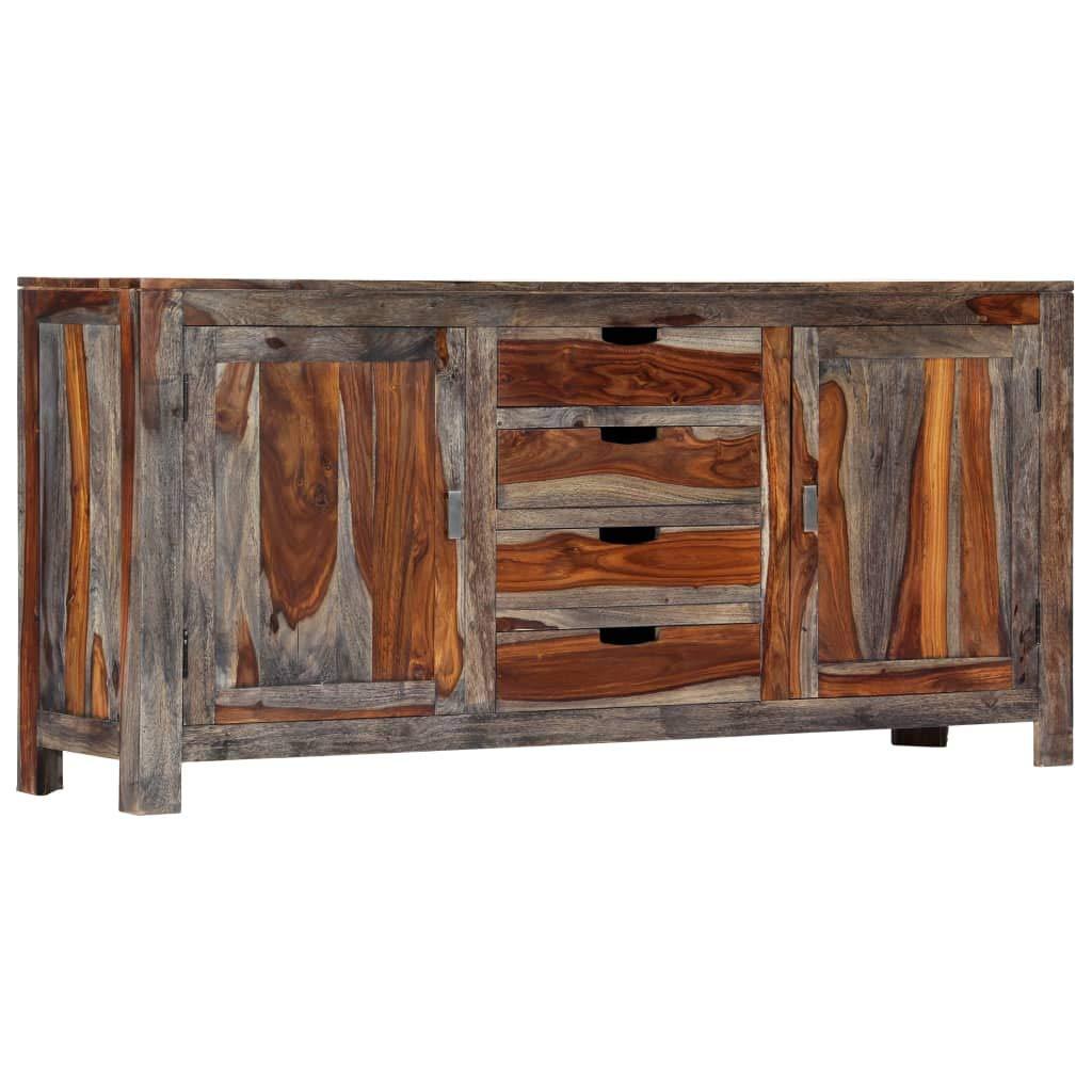 Festnight Sideboard | Vintage Kommode | Rustikal Beistellschrank | Holz Schubkastenkommode mit Stauraum | mit 2 Türen und 4 Schubladen | Grau Massivholz Sheesham 160 x 40 x 75 cm