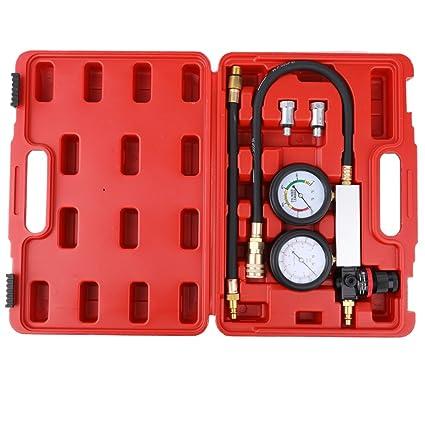 KKmoon Kit de comprobador de compresión Detector de fugas del cilindro Medidor de presión del cilindro