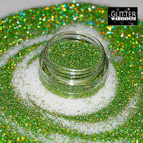 Lime Green GlitterWarehouse Fine (.008'') Holographic Solvent Resistant Cosmetic Grade Glitter. Great for Makeup, Body Tattoo, Nail Art and More! … by GlitterWarehouse