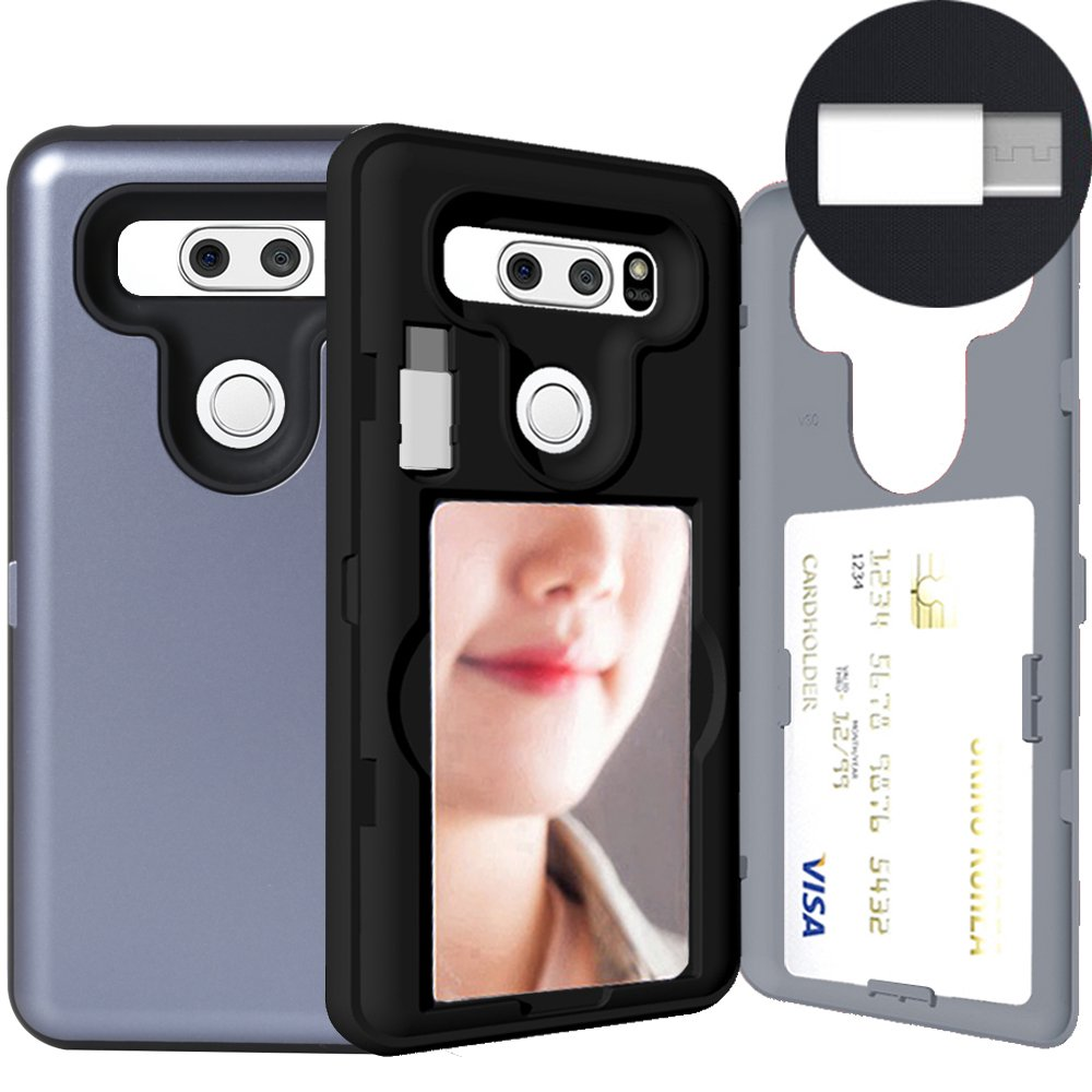 buy online 039a9 a8a17 LG V30 Case, SKINU [LG V30 Wallet Case] Hidden Credit [LG V30 Card case]  Holder ID Slot Card Case with Inner USB Type C Adapter and Mirror for LG ...