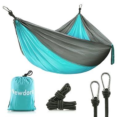 Newdora Camping Hammock - Lightweight Nylon Portable Hammock, Best Parachute Double Hammock for Backpacking, Camping, Travel, Beach, Yard. 105 (L) x 56 (W)