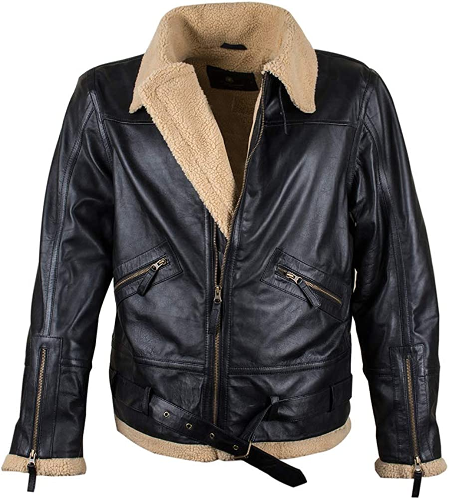 Mens Aviator RAF B3 Ginger Yok Faux Fur Distressed Black Real Leather Jacket
