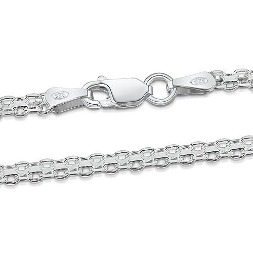 Amberta 925 Sterling Silver 2.2 mm Bismark Chain Necklace 16