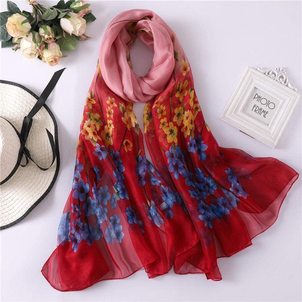 YYNIGHT Soft floral print silk scarf female shawl-Khaki/_110X200CM