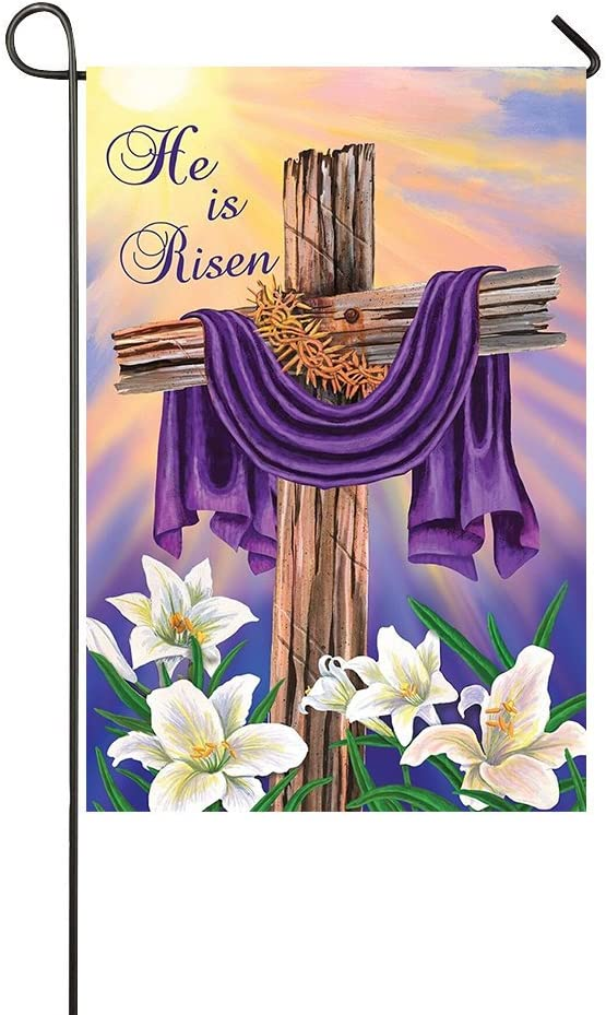 """Lily's Rossne Home Outdoor Garden Flags Easter Cross He is Risen House Flag Decoration Double Sided Flag 12.5"""" x 18"""""""