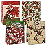 Christmas Gift Bags 12 Pack, In 4 Assorted Designs in 3 Sizes Small Medium Large For Women Men Teens Kids Merry Holiday Paper Wrapping With Handles and Tags by Gift Boutique