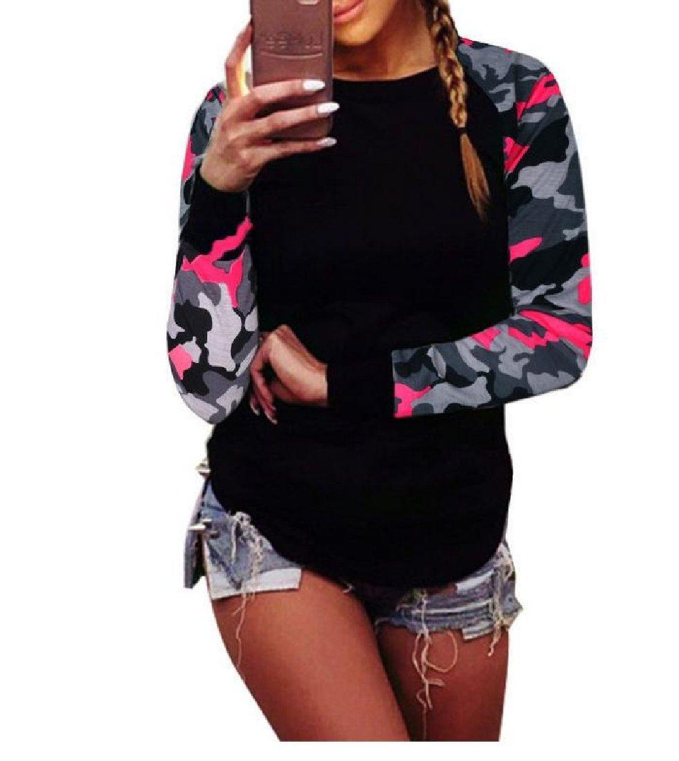 FieerWomen Oversize Pullover Patchwork Camo Print Long Sleeve Sweatshirt