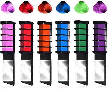 Kalolary Tiza del pelo de, 6 Colores Temporales Brillantes Tiza para el pelo Peine No tóxico Lavable Tinte para el cabello Regalos bonitos para los ...