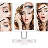 TOUCHBeauty LED Trifold Makeup Vanity Mirror with 34PCS Lights and Magnification 1X/2X/3X/7X Touch Screen Personal Cosmetic M