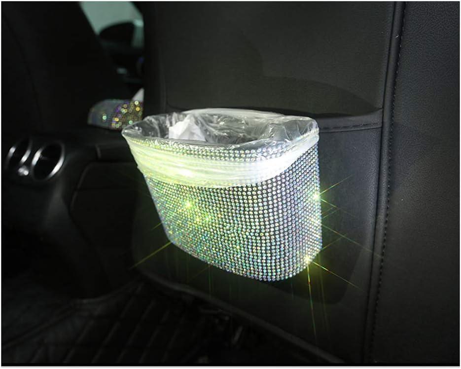 Siyibb Bling Car Garbage Can Plastic Trash Bin Hanging Wastebasket with Sparkle Rhinestones,Green Green