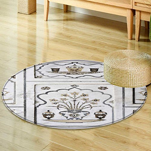 Small Round Rug Carpet Agra utta Pradesh India February Inlaid Work of Color Marble Stone on Wall of i Door mat Indoors Bathroom Mats  Non Slip -Round 35