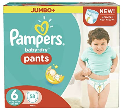 Pampers Baby-Dry Tamaño De Los Pantalones De La Caja 6 Jumbo 58 Pañales