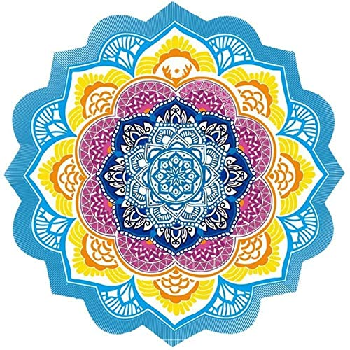 (SmartHomeSaving B Beach Towel Tassel Yoga Mat Carpet Tapete Doormat Tapestry Indian Mandala Blankets Bathroom Carpet Camping Mattress 7 Color (07 - Diameter 150cm))