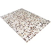 Tapete de Couro de Boi 2m X 1,5m Natural Costurado 3cm x 9cm Com Borda - OF34