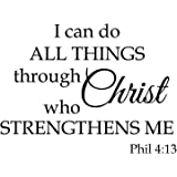 I Can Do All Things Through Christ who Strengthens me,Wall Sticker Motivational Wall Decals,Family Inspirational Wall Sticker