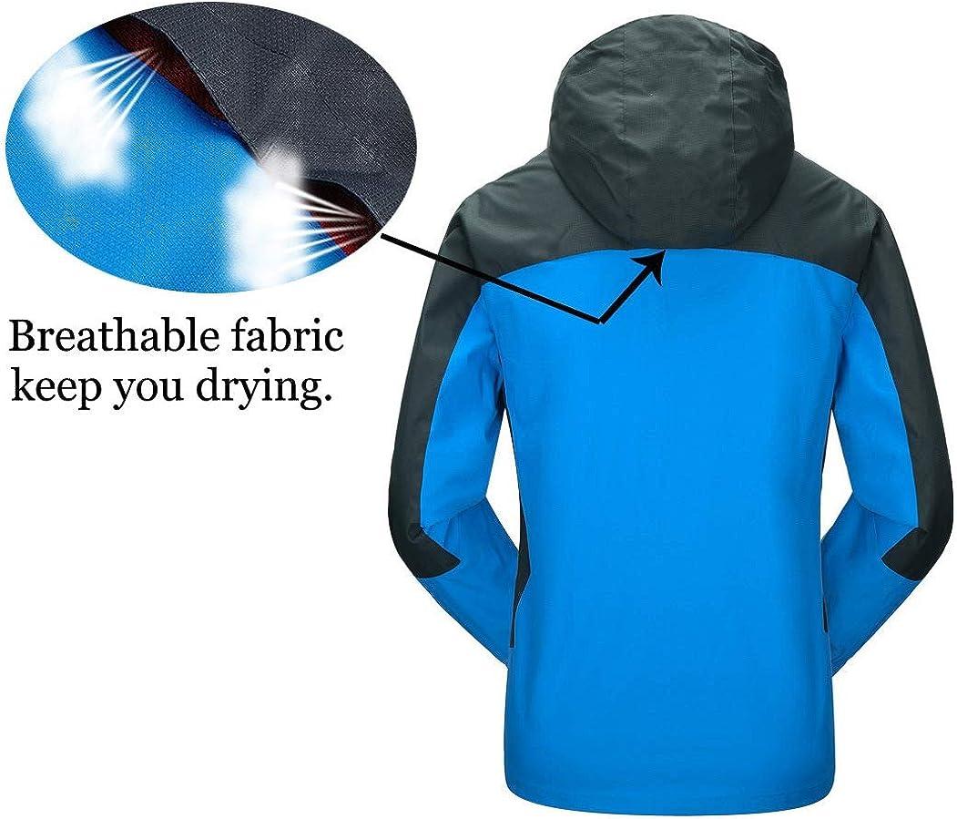 Rdruko Mens Jacket with Hood Waterproof Windproof Casual Outdoor Softshell Raincoat Sportswear