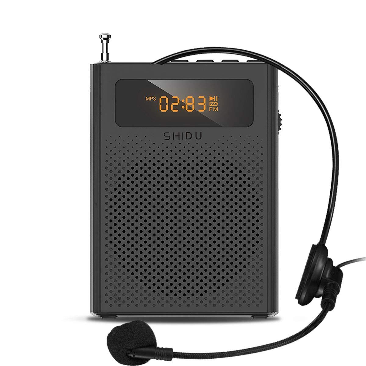 Portable Voice Amplifier with Mini Headset Microphone Updated Voice Speaker for Teachers Elderly Tour Guide Supports MP3 Format Audio Black by RJoanna Jeremiah