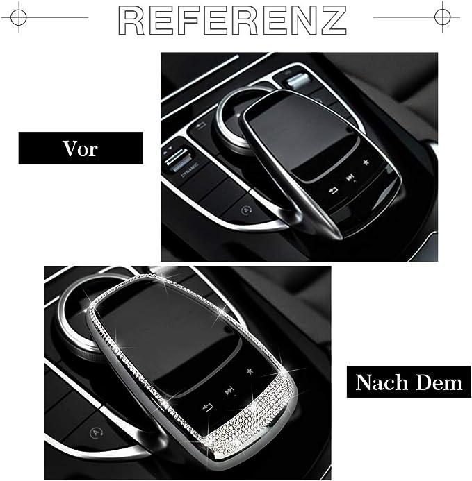 Vdark Zubehör Teile Trimmen Touchpad Bildschirm Zentrale Multimedia Steuerung Kappen Abdeckungen Innendekorationen Für W204 X204 W166 X166 C Klasse Glk Amg Bling Kristall Silber Auto