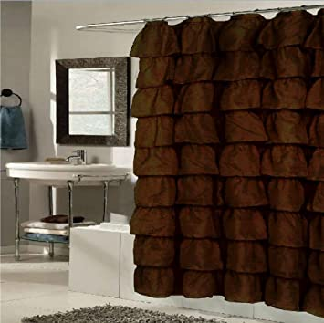 Shower Curtains chocolate brown shower curtains : Amazon.com: Betty Ruffled Voile Layers Shower Curtain 70 x 72 ...