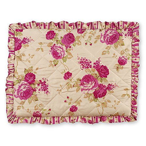 Collections Etc Pink Rose Floral Quilted Ruffle Pillow Sham