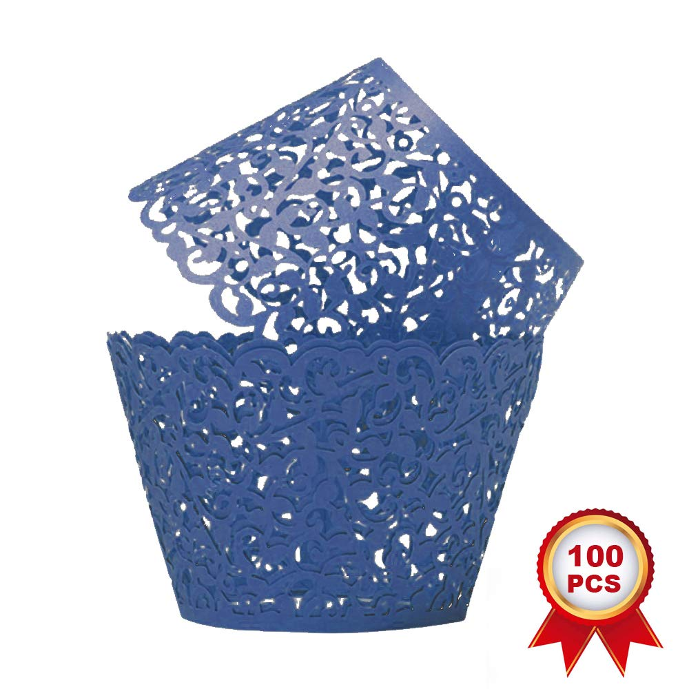 SUYEPER 100pcs Cupcake Wrappers Artistic Bake Cake Paper Cups Little Vine Lace Laser Cut Liner Baking Cup Muffin Case Trays for Wedding Party Birthday Decoration (Navy Blue)