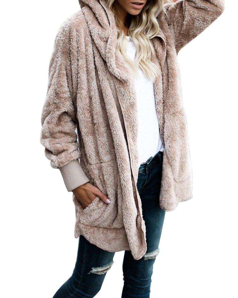 Womens Fuzzy Winter Open Front Cardigan Sherpa Fleece Jacket Hooded ... ac5d1dc6a