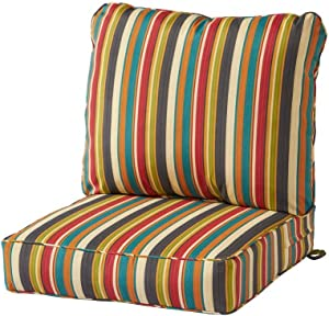 Greendale Home Fashions Deep Seat Cushion Set, Sunset Stripe with More Give-aways