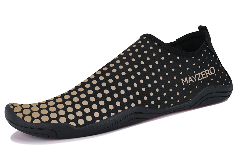 WXDZ Men Women Water Sports Shoes Quick Dry Barefoot Aqua Socks Swim Shoes for Pool Beach Walking Running (9USWomen/7.5USMen, Dot-Gold) by WXDZ