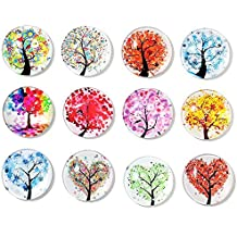 Superhappy 12 Fridge Magnets Kitchen Whiteboard Refrigerator Magnets Office Magnets 3D Funny Glass Magnets for Map, Home Decoration, Arts & Crafts,Locker Accessories (Tree)