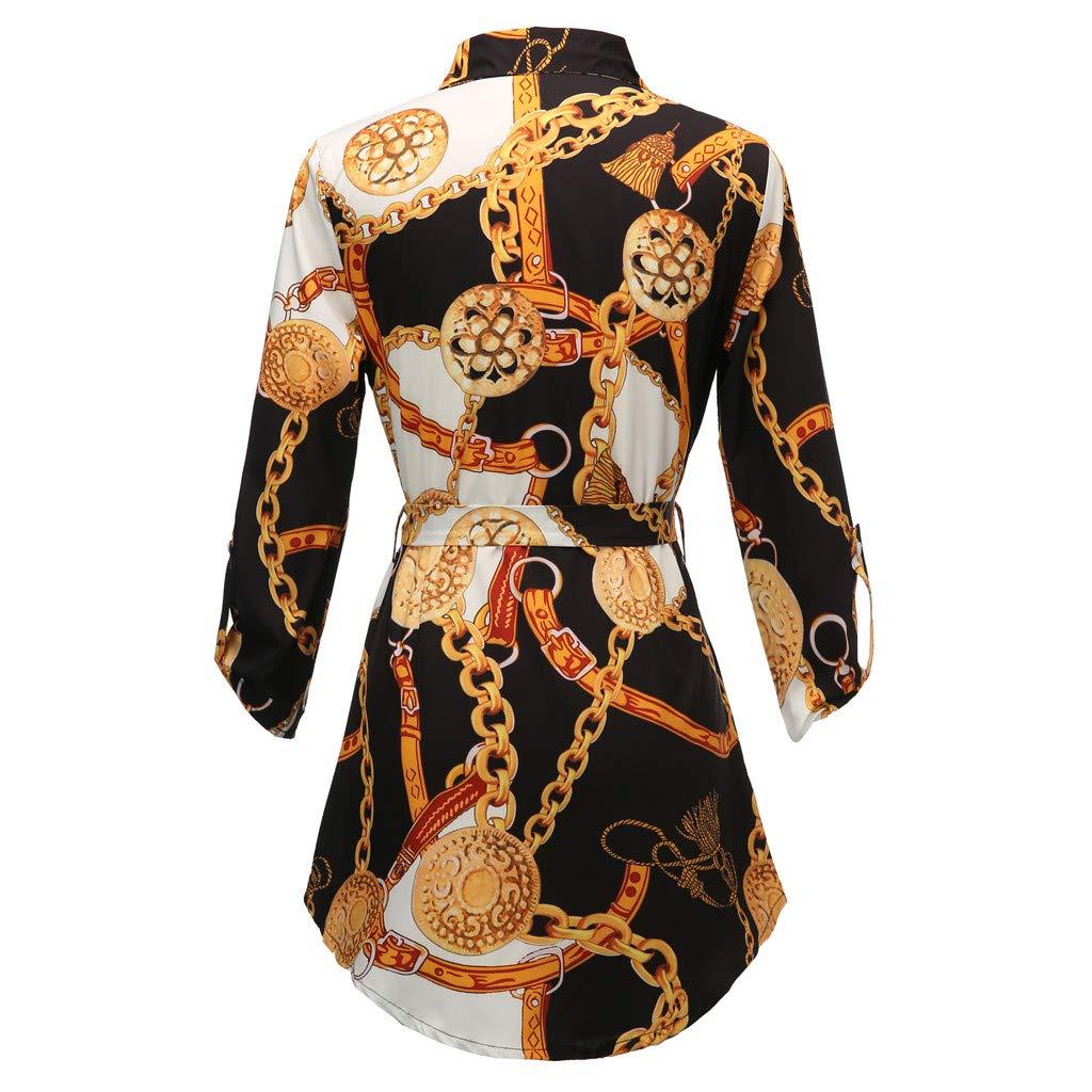 squarex  Women Dresses Elegant Summer Casual Women Long Sleeve Chain Print Shirt Dress Ladies Casual Mini Dress