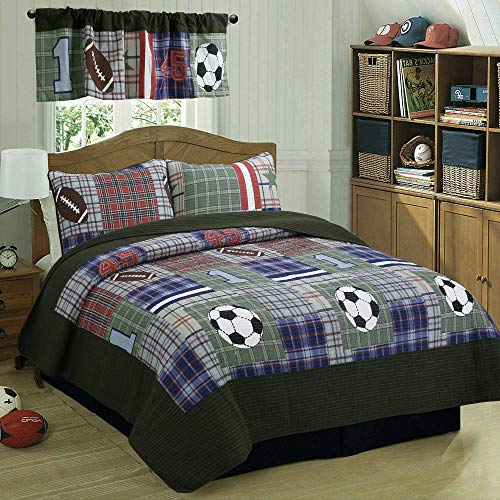 Cozy Line Home Fashions Liam Bedding Quilt Set, Olive Green Blue Red Football Print 100% Cotton Reversible Coverlet Bedspread, Gifts for Kids/Boy (Olive Football, Twin - 2 ()