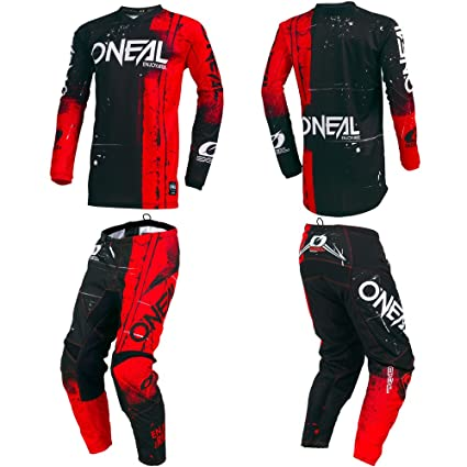 ONeal Element Shred Red Adult motocross MX off-road dirt bike Jersey Pants combo riding gear set (Pants W34 / Jersey X-Large)
