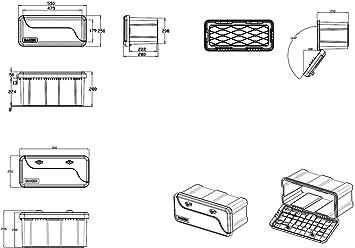 Coffre /à outils en plastique inject/é WZK L 400 H 350 P 350