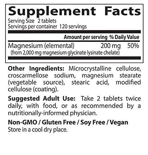 Doctors Best High Absorption Magnesium Dietary Supplement, 200 mg per 2 tablets, 240 Tablets
