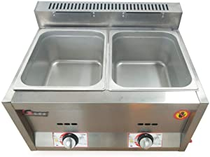 2-Pan Counter Top Gas Food Warmer Commerical Grade Stainless Steel Buffet Server & Portable Food Hot Plate Warmer Station Steam Table for Catering&Restaurants