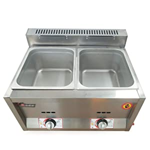 Commercial Countertop Fryer, Stainless Steel Large Double Cylinder Gas Fryers for Restaurants and Snack Bar
