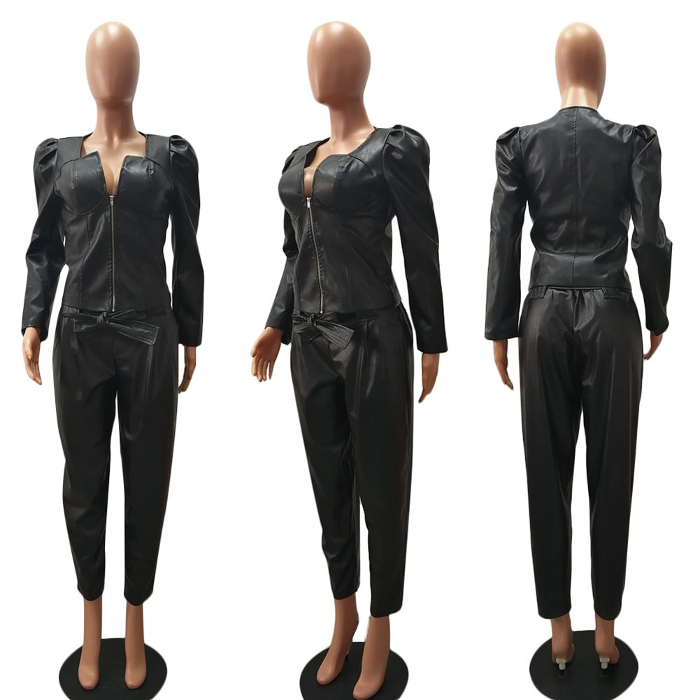 Fadvanes Womens Sexy Black PU Faux Leather Long Pants Trousers With Belt L by Fadvanes (Image #5)