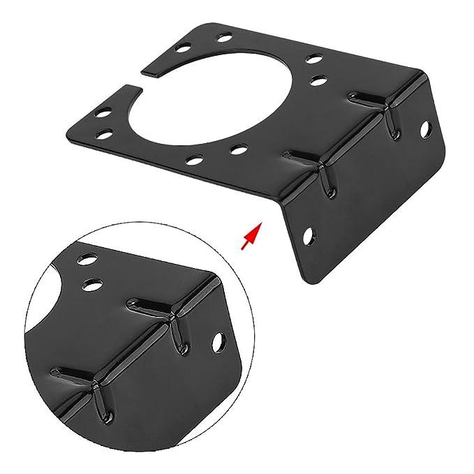 Support de douille /à fiche /à angle droit pour 7 broches Caravan Raccord de remorque /à remorquage avec vis et /écrous complets Noir Support de montage /à douille de connecteur