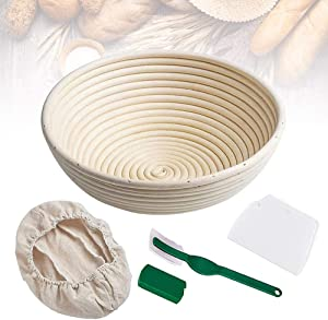 "Bread Banneton Proofing Basket 9"" Round Bread Proving Rising Baskets Bowl Set for Dough Baking Gifts for Artisan Bread Making Starter Homemade"