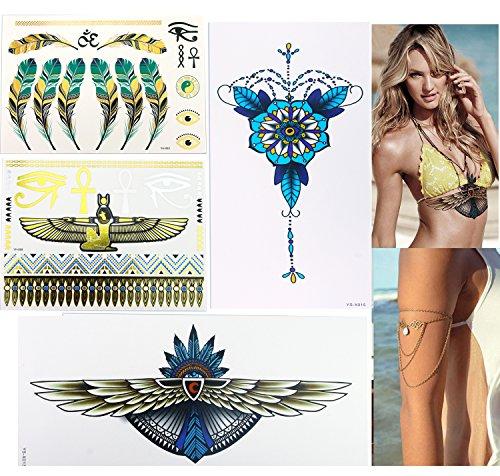 Egyptian Dress Up Ideas (Egyptian & Metallic Temporary Tattoos (2 Large 2 Small) &2PCS Turquoise Drop Arm Harness Slave Chain Kit for Women Bikini Dress Up Boho on Summer Beach Sternum Tattoos Kits)
