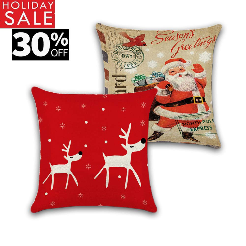Christmas Pillow Covers,Merry Christmas Decorative Throw Pillow Case Cushion Cover 18 x 18 inch (No Pillow Insert)